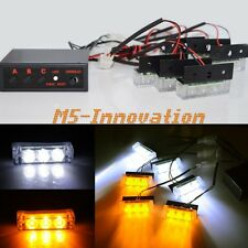 18 White/Amber LED Tow/Security/Golf Cart Pickup Warning Strobe Flash Lamps New