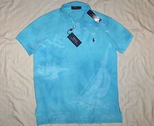 POLO RALPH LAUREN Classic Fit Pony Tie-Dye Mesh Shirt Sailboat, Turquoise MEDIUM