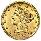 $5 Liberty Gold Half Eagle Coin - Random Year - Almost Uncirculated - SKU #1124