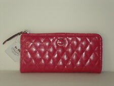 Coach Poppy Quilted Leather Slim Zip ~  Fuchsia 47882