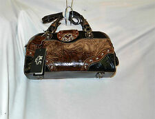 M. C. Brown & Black Western Tooled Leather Purse Silver Accents NWT