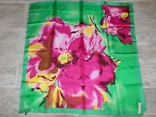 "Talbots Big Abstract Floral Silk Scarf Rose Pink Green Yellow New 31"" x 32"" 4380"