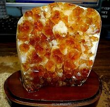 LARGE POLISHED CITRINE CRYSTAL CLUSTER GEODE FROM BRAZIL CATHEDRAL W' WOOD BASE
