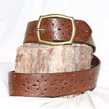 """Vintage brown Leather Belt size 32 & 1½"""" Wide small brass rivets brass buckle"""