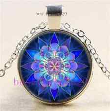 Blue Flower Mandala Photo Cabochon Glass  Tibet Silver Pendant Necklace
