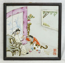Chinese  Famille  Rose  Porcelain  Plaque  With  Frame   9