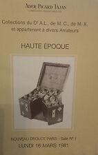 1981 CATALOGUE DE VENTE ILLUSTRE DROUOT HAUTE EPOQUE