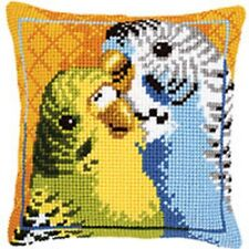 Budgies - Large Holed Tapestry Cushion Kit/Printed Chunky Cross Stitch