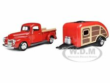 1940 FORD PICKUP TRUCK RED WITH TEAR DROP TRAILER 1/24 BY MOTORMAX 75234