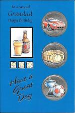 BIRTHDAY CARD TO A SPECIAL GRANDAD - PINT OF BEER.CAR.WATCH.FOOTBALL TROPHY.