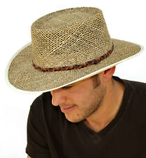 Mens Greg Norman style Seagrass Straw Summer Hat