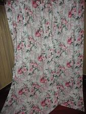 VINTAGE LADY PEPPERELL RETRO FLORAL PINK GREEN ROSES (PAIR) CURTAIN PANELS 42x82