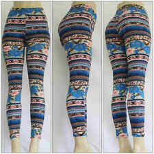 Fashion Flower Abstract Printed Leggings Women's Stretch One Size Skinny Pants 2