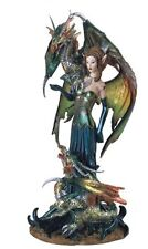 "9.5"" Inch Colorful Fairy with Dragons Statue Figurine Figure Fantasy Magical"