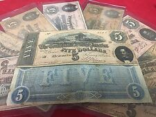 1864 $5.00 Confederate Note Civil War Same Type Note found on Abraham Lincoln..