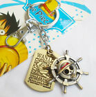 ONE PIECE MONKEY D LUFFY Pirate Flag Cosplay Double Keychain Keyring Pendant Gif