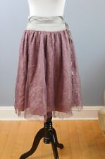 Womens Sz S Small RYU Mauve Pink Tulle Crinkle Skirt Wrap Tie Waist Full NWT