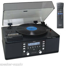 Teac Cassette Stereo Auxilliary Turntable CD Recorder Record Black LP-R550USB