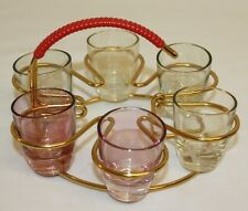 Vintage Retro Mid Century Multi Color Shotglass Set with Gold-Tone Holder Lot 6