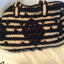 GERARD DAREL BLACK RAFFIA  LARGE HANDBAG MADE IN FRANCE