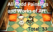 Animal Crossing New Leaf Nintendo 3DS All 33 Redd Paintings + 1 Million Bells