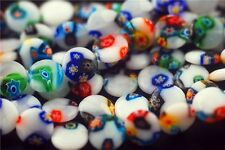 Bulk 50pcs Glass Flower White Millefiori Beads Spacer Jewelry Making 12mm Charms