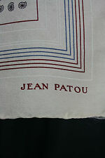 Jean Patou Vintage Silk Scarf, Mini Paisley, Taupe with Red Blue Border, Italy