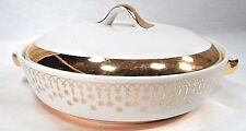 Atomic Hall China Gold Lace Flare Ware Hollywood Regency Retro Covered Casserole