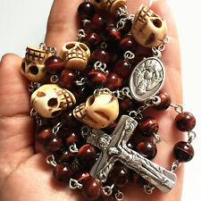 Tiger Eye Bead Tibet oxe Bone Skull Rosary CRUCIFIX CATHOLIC NECKLACE CROSS