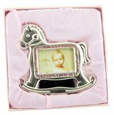 Silver Plated & Pink Diamante Rocking Horse New Baby Girls Photo Frame ~ Gift