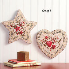 LOVE HOPE FAITH BELIEVE WISH DREAM HEART STAR WALL ART PLAQUE COUNTRY HOME DECOR