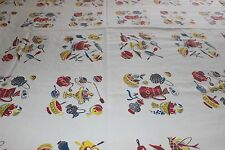 Vintage Wilendur Tablecloth Oblong Kitchenalia Pattern Repeating