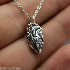 ANATOMICAL HEART CHARM NECKLACE - 925 Sterling Silver - Love Heart Jewelry *NEW*