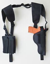 Vertical Carry Shoulder Holster for BERETTA 92 OR 96 COMPACT INOX Dbl Mag Pouch