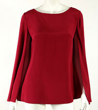 RALPH LAUREN BLACK LABEL Scarlet Red Mulberry Silk Boat Neck Cape Blouse 6