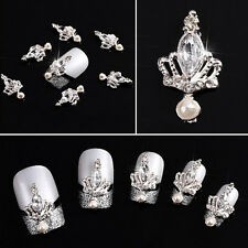 3D Crown Nail Art Alloy& Rhinestone Metal Manicure Jewelry DIY Decoration 10pcs