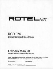 Rotel RCD-975 CD Player Owners Manual