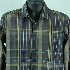 Ted Baker Mens Size 4 Shirt Brown Plaid French Cuff Link Designer L Large