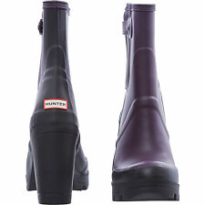 NEW AUTHENTIC  Hunter Original High Heel Plum Boots Wellies  - UK Size 7