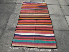 "Tribal Nomadic HANDMADE Oriental Wool Colourful Kilim 173x100cm 5'9""x3'4"""