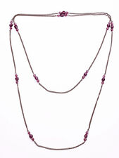 DARK PURPLE 3 FACETED BEAD PUNCTUATED FINE GUNMETAL LONG CHAIN NECKLACE (ZX39)