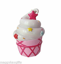 Large Colourful Cupcake Moneybox, Pink  & White, Girls Gift / Bedroom Accessory