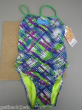 NEW* Speedo 10 36 Swimsuit RACING ATHLETIC Green Blue Dots $66 Retail