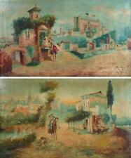 19th c. Spanish School Pair of oil Landscape with man on horse, sign Illegible