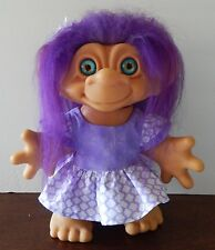 1964 Dam Iggy Normous Troll Doll New dress New blue eyes New Purple hair 11""