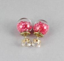 Crystals confetti double ball earrings post stud stick reversible front back