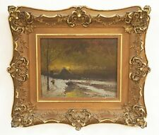 OIL PAINTING ON CANVAS OF A MOONLIT SNOW SCENE WITH WHAT APPEARS TO ... Lot 1117