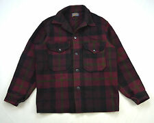 PENDLETON Vintage 1960s Brick Red Plaid Wool Flannel Work Shirt Jacket Men Small