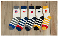 5 pairs Cartoon Socks Superhero Captain America Spiderman Batman Superman logo