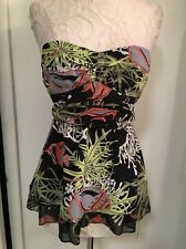 NANETTE LEPORE Size 2 Black Silk Under the Sea Bustier Strapless top with belt